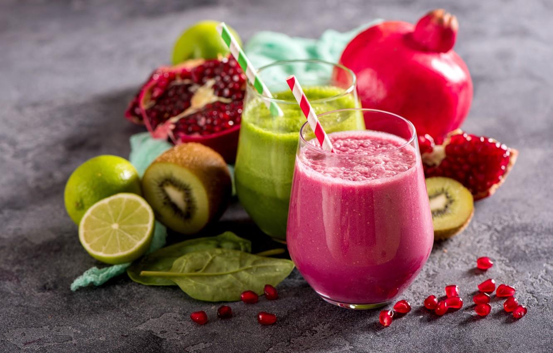 Фото обои киви, лайм, напиток, фрукты, витамины, гранат, fruits, vegetables, smoothies, смузи