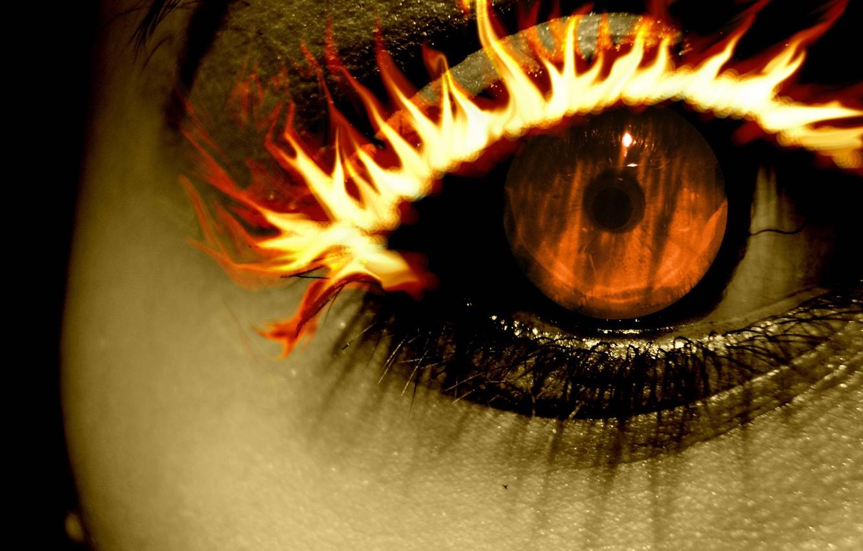 Фото обои fire, orange, Eye, eyelash