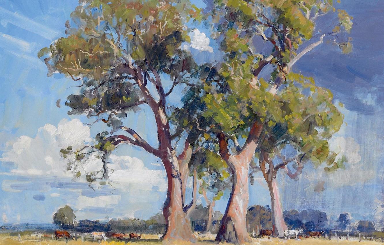 Фото обои животные, деревья, пейзаж, картина, The Three Gums, Arthur Streeton