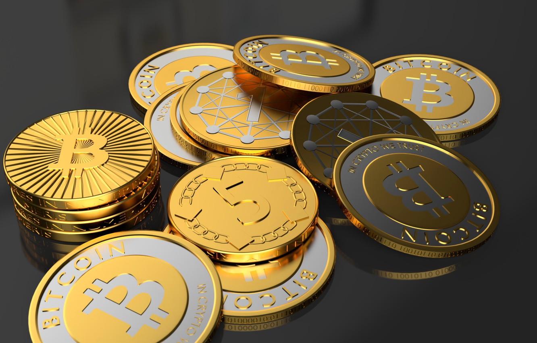 Фото обои макро, монеты, bitcoin, биткойн