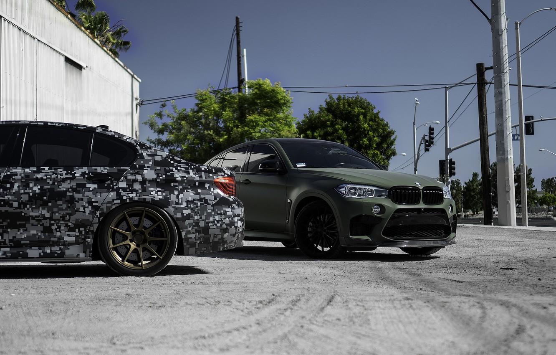 Фото обои BMW, Green, X6M, Pixel, F10, LED, F86