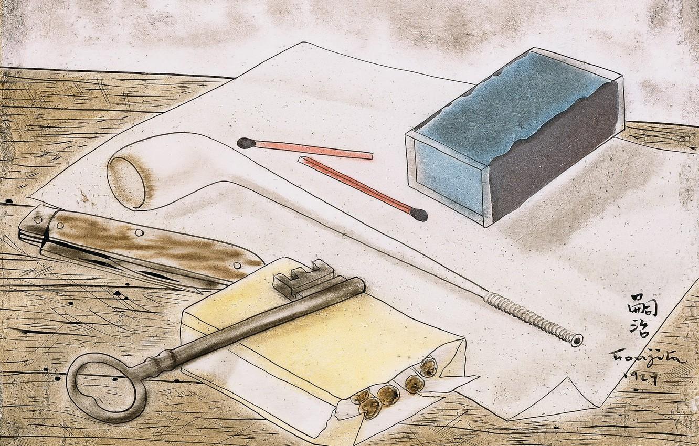 Фото обои спички, нож, Натюрморт, сигареты, курительная трубка, белый лист, Цугухару, Фудзита, с курительными принадлежностями и, ключом