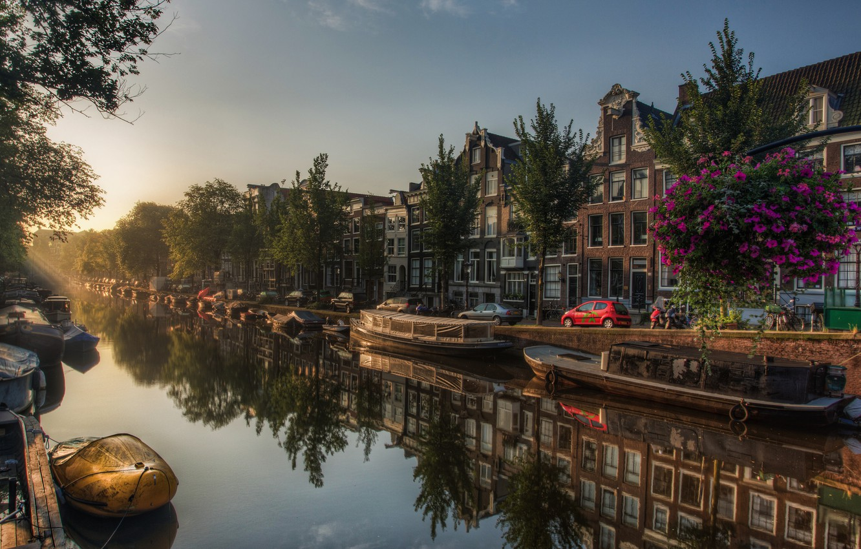 Фото обои улица, лодки, hdr, канал, Amsterdam, multi monitors, амстердам, Netherlands, Jordaan, pano, нидерланды, ultra hd, Де-Валлетьес
