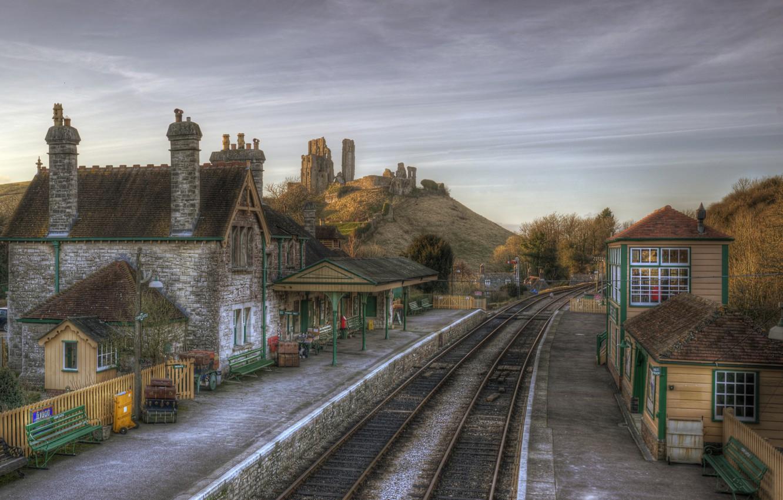 Фото обои Англия, Дома, Город, Corfe Castle Station, Железные Дороги