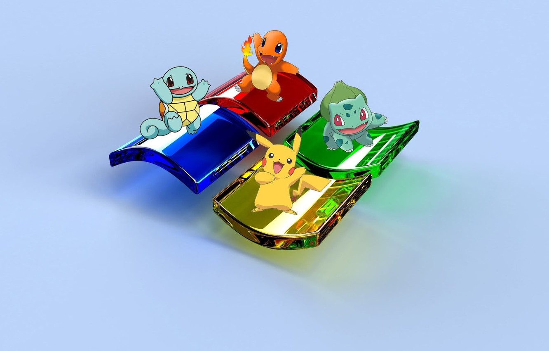 Фото обои синий, желтый, красный, green, Windows, зелёный, red, yellow, blue, Pikachu, Пикачу, Операционная система, Charmander, Squirtle, …