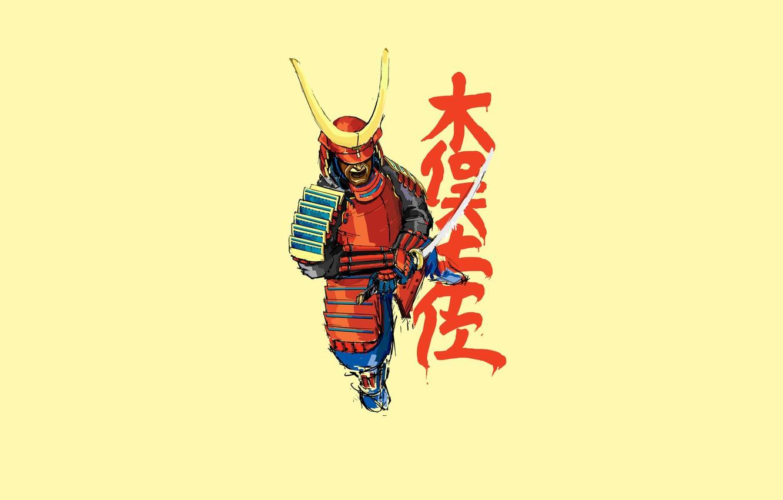 Фото обои надпись, меч, доспехи, самурай
