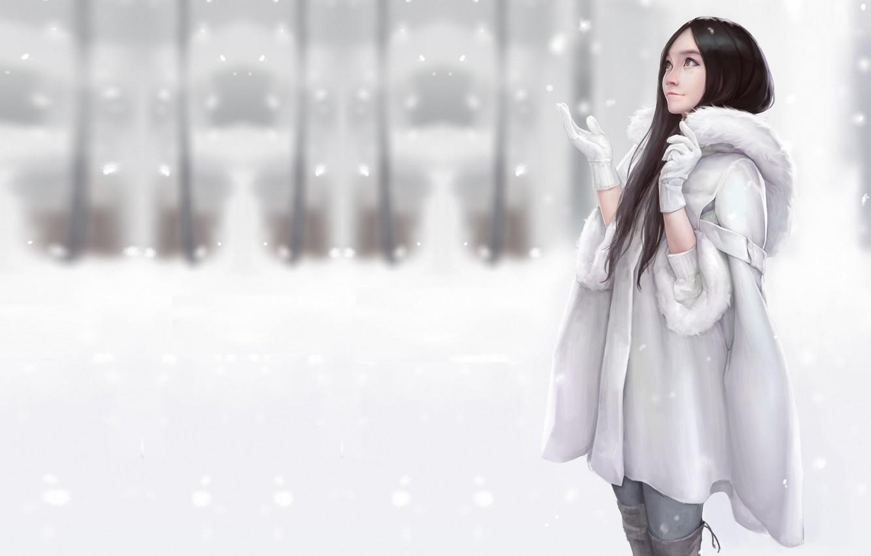 Фото обои зима, снег, настроение, арт, шубка, Maou Renjishi