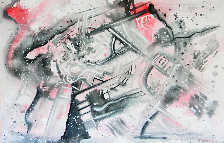 Фото обои красный, серый, чёрный, Рисунки, Абстракционизм, Лена Роговая, 2010-2012гг