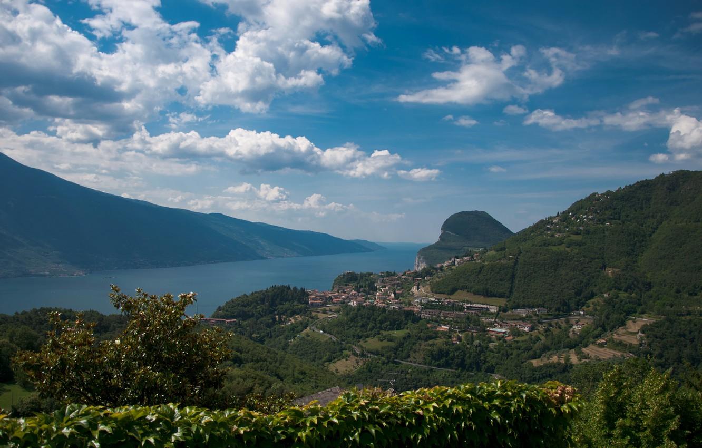 Фото обои Город, Панорама, Пейзаж, Panorama, Гардское озеро, Town, Lago di Garda, Озеро Гарда