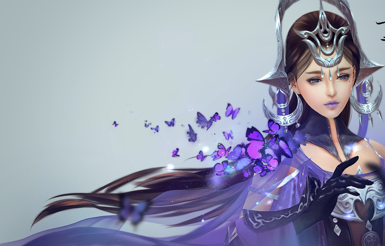Фото обои девушка, магия, бабочка, арт, Цзянь Ван