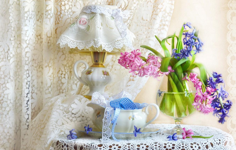 Фото обои лампа, текстиль, абажур, гиацинт