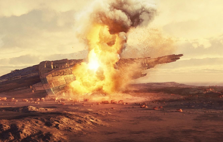Фото обои огонь, дым, крушение, аппарат, Bad Horizon