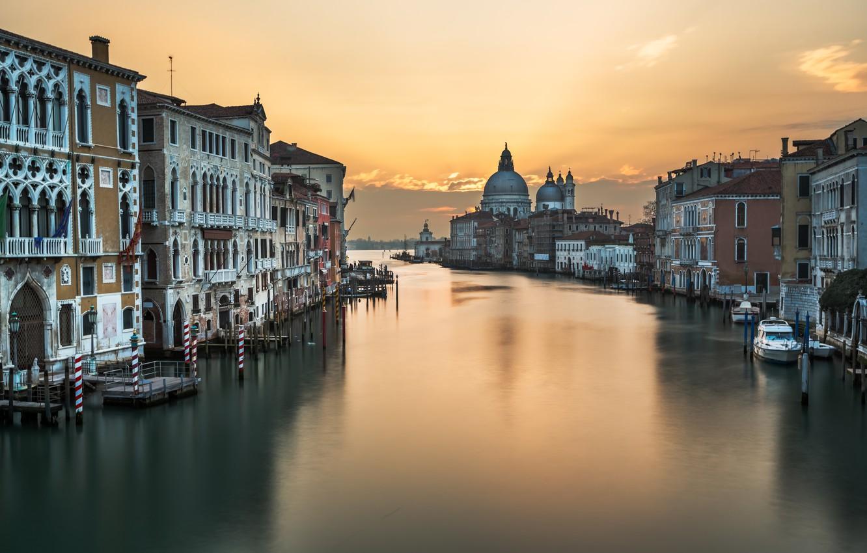 Фото обои Италия, Венеция, канал, Italy, sunset, Venice, Panorama, channel, Grand Canal