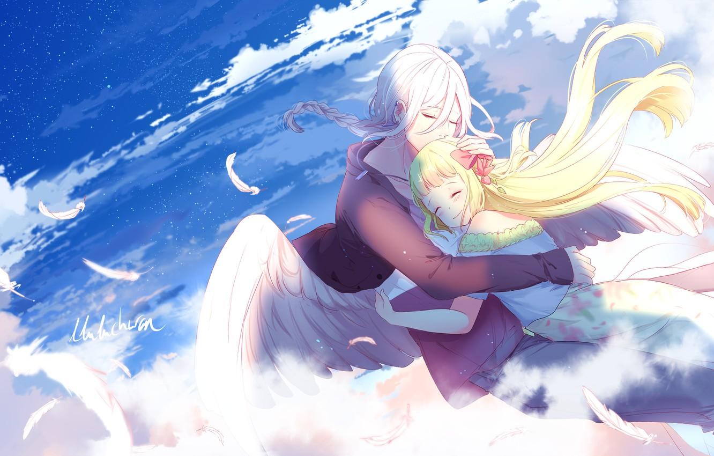 Фото обои небо, романтика, ангел, арт, девочка, парень, двое, обнимашки, lluluchwan
