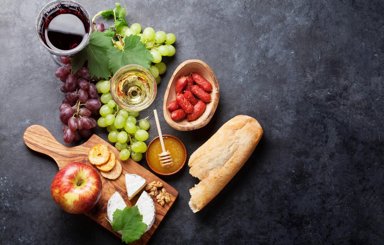 Фото обои вино, яблоко, сыр, хлеб, виноград, колбаса