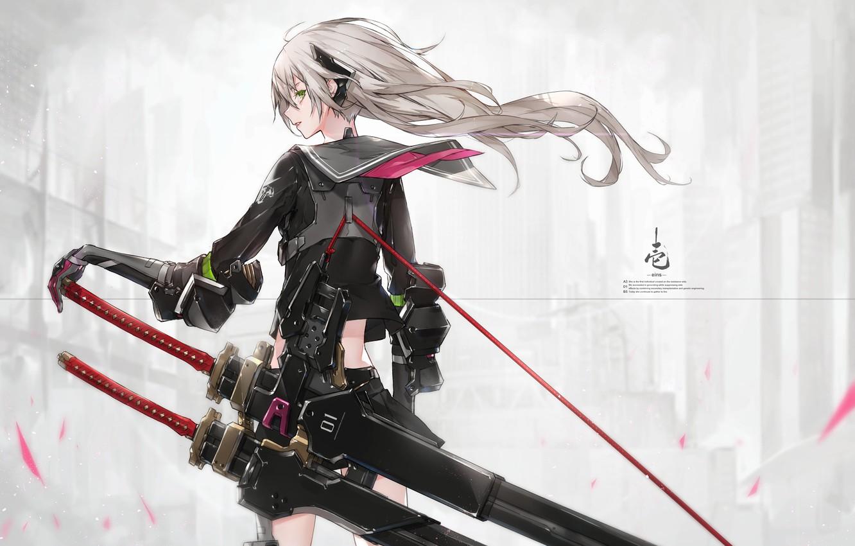 Фото обои девушка, оружие, аниме