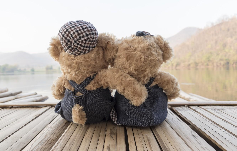 Фото обои море, пляж, любовь, игрушка, медведь, пара, love, двое, beach, bear, sea, romantic, teddy