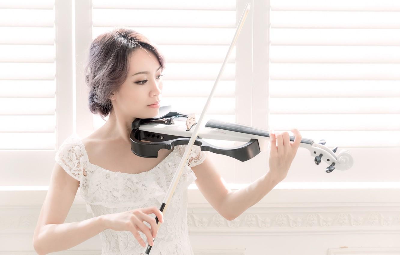 Фото обои девушка, музыка, скрипка