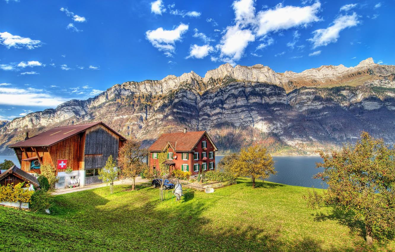 Фото обои горы, река, hdr, Switzerland, швейцария, домик в горах, ultra hd, Läuferberg, Näfels, Grosser Güslen