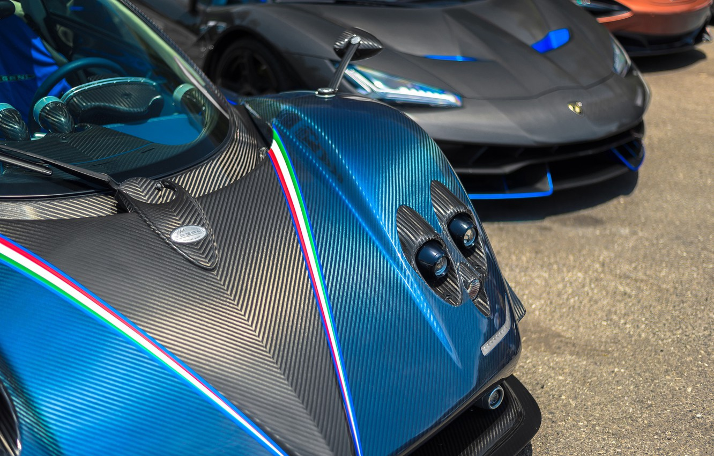 Фото обои Lamborghini, Carbon, Blue, Zonda R, Centenario, Pagany