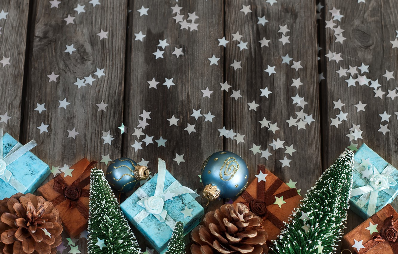 Фото обои ель, подарки, звездочки, шишки