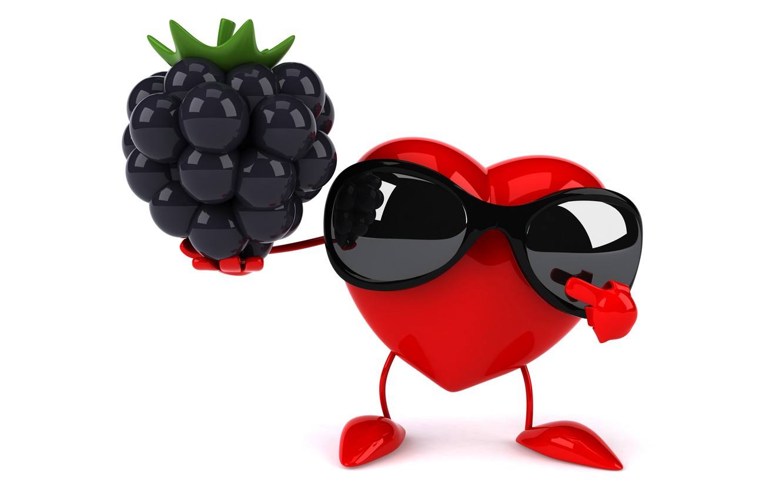 Фото обои сердце, heart, ежевика, funny, rendering, sunglasses, 3D Art