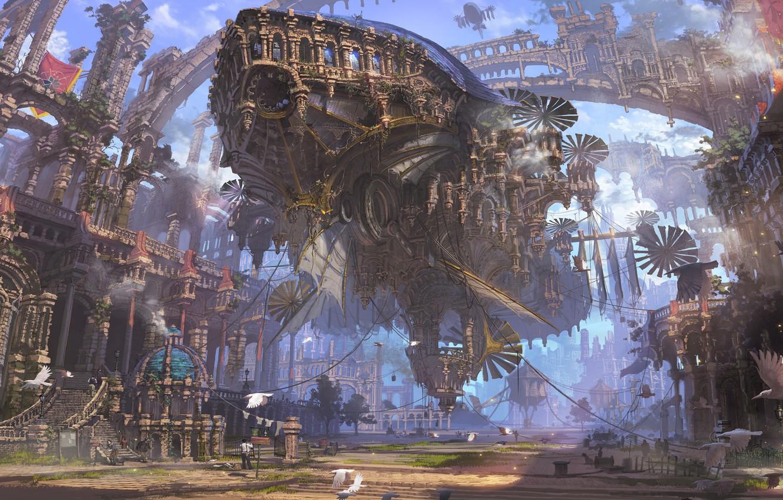 Фото обои city, fantasy, airship, birds, street, people, painting, ruins, buildings, artwork, fantasy art, Steampunk, futuristic, ropes, …