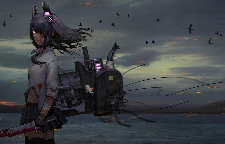 Фото обои море, девушка, горы, птицы, природа, оружие, кровь, аниме, tenryuu, kantai collectio, tomiya7112