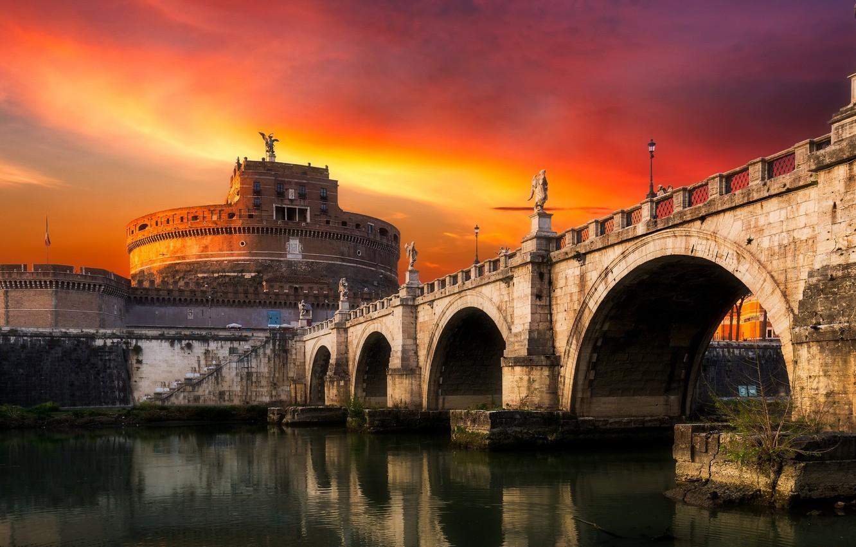 Фото обои пейзаж, закат, мост, город, Рим, Италия, Ватикан, Sant`Angelo