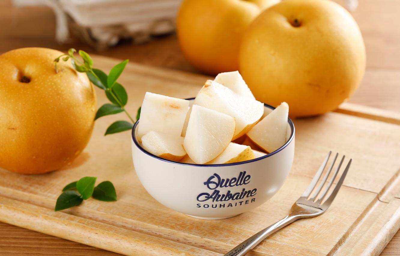 Фото обои яблоки, кусочки, миска