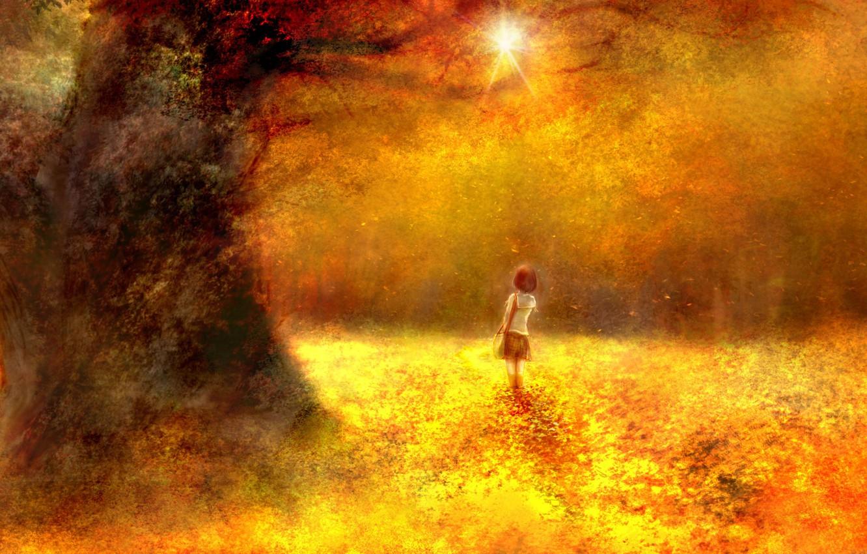 Фото обои осень, лес, девочка, школьница, by 00