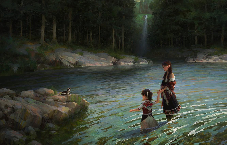 Фото обои лес, дети, река, ситуация, арт, кошечка, Heritage, Caffe Tylo