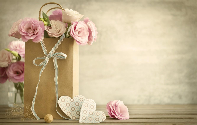 Фото обои любовь, цветы, праздник, сердечки, день влюбленных, эустома
