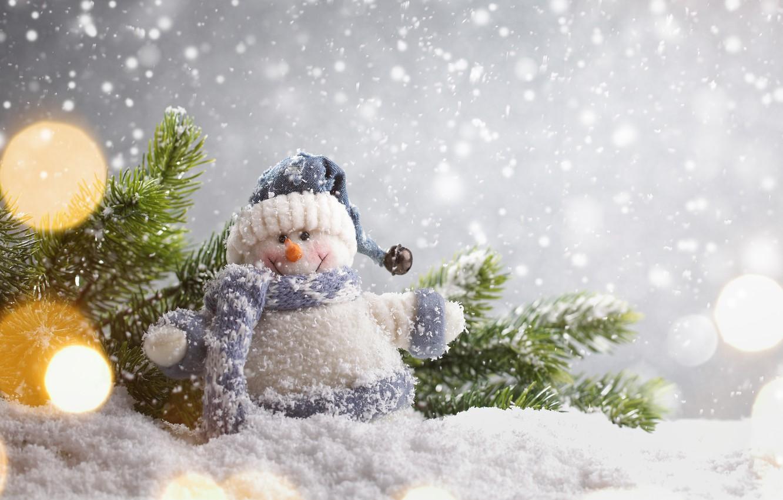 Фото обои зима, снег, Новый Год, Рождество, снеговик, Christmas, winter, snow, Merry Christmas, Xmas, snowman, decoration