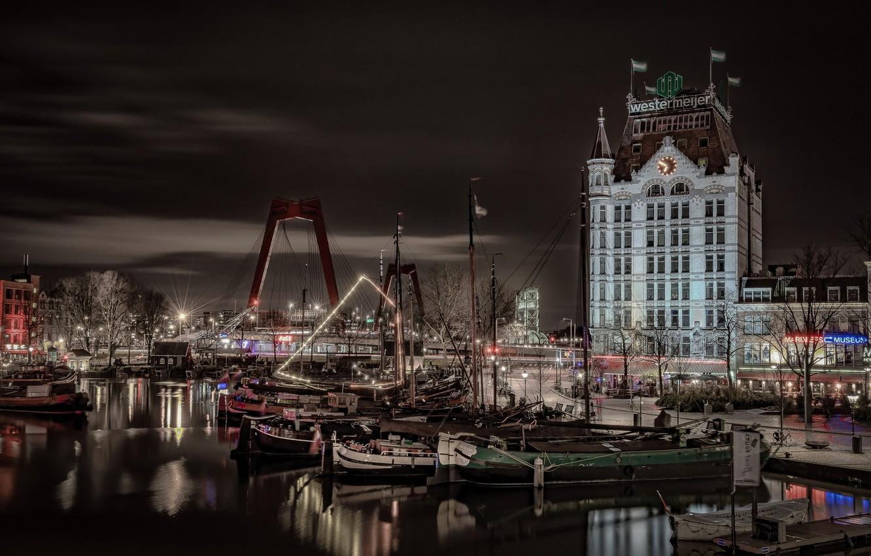 Фото обои ночь, огни, Нидерланды, гавань, старый город, Роттердам