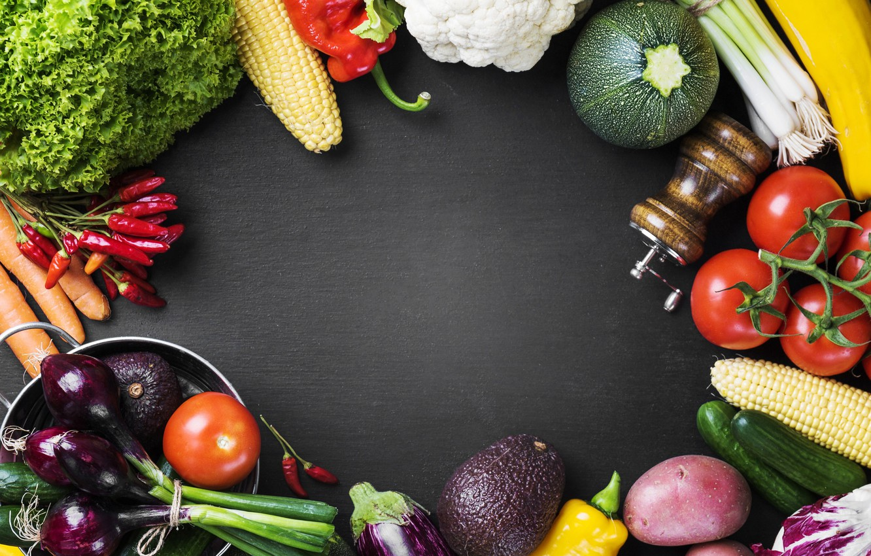 Фото обои зелень, овощи, ассорти