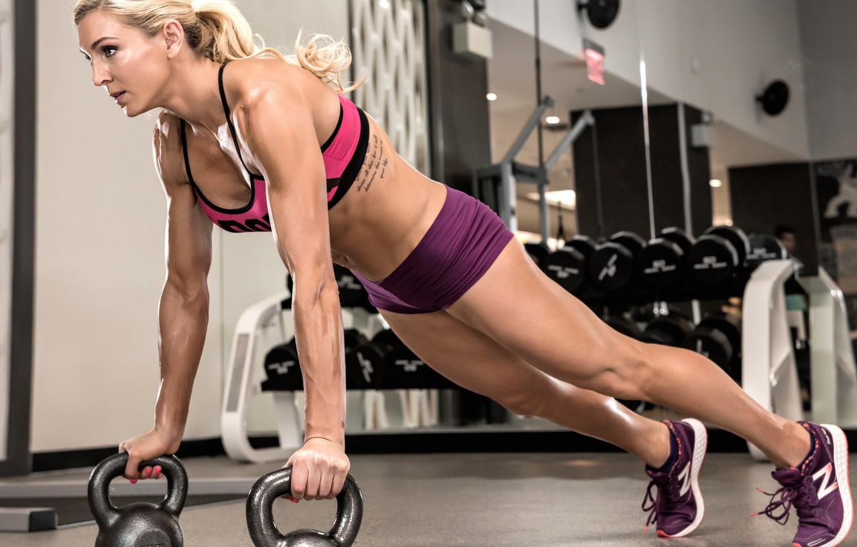 Фото обои blonde, female, fitness, Pushups, gym workout