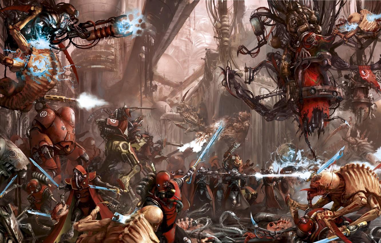 Фото обои Warhammer 40 000, tyranids, techpriest, Adeptus Mechanicus