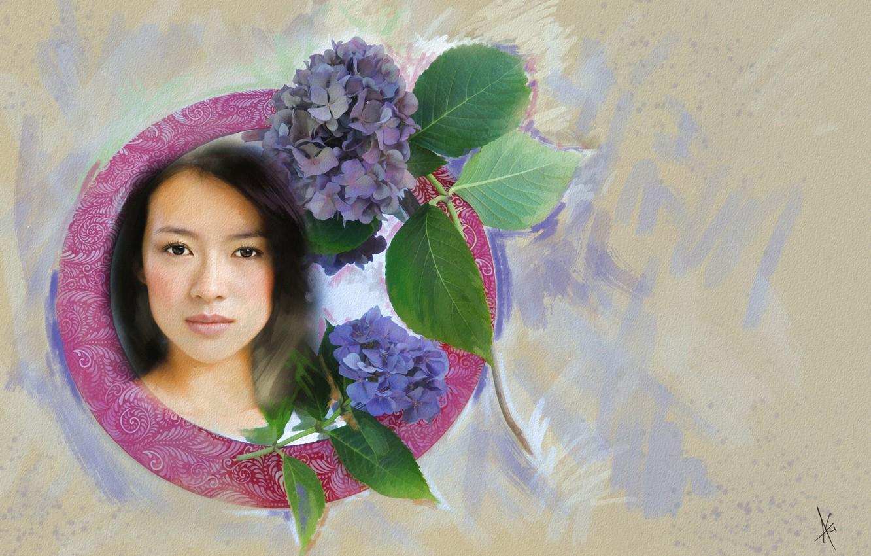 Фото обои взгляд, листья, девушка, цветы, лицо, фон, милая, рисунок, графика, портрет, обработка, светлый, картина, актриса, брюнетка, …