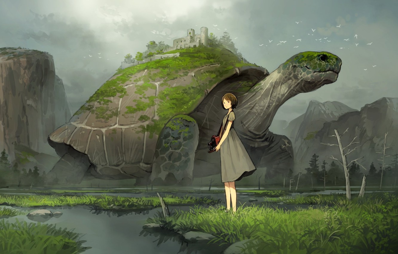 Фото обои девушка, черепаха, аниме, арт
