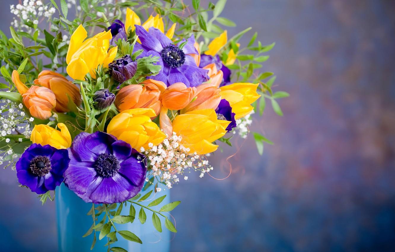 Фото обои цветы, букет, тюльпаны, ваза, анемоны