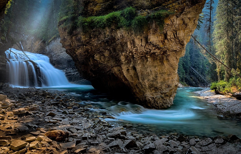 Фото обои Природа, Водопад, Скала, Берег