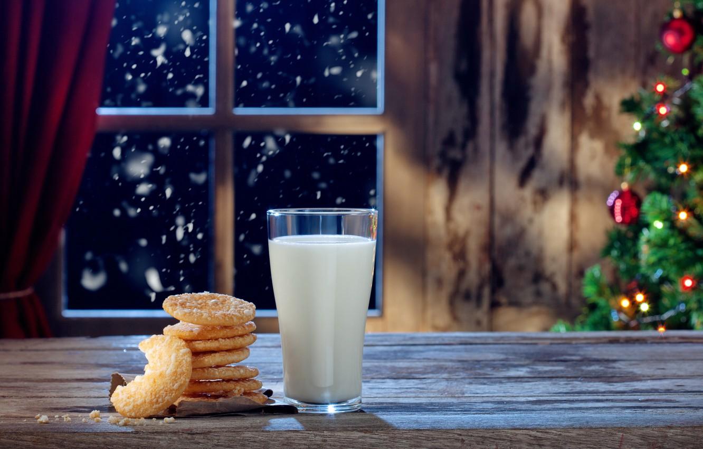 Фото обои Новый Год, Рождество, christmas, merry christmas, milk, cookies, decoration, christmas tree, xmas