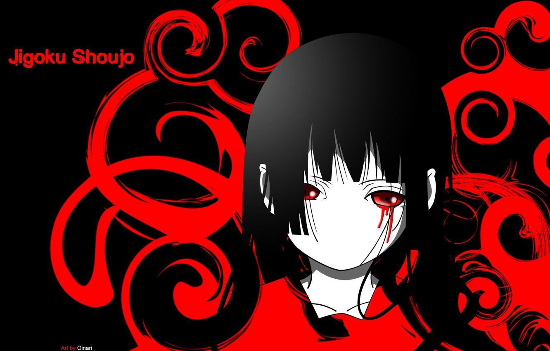 Фото обои пустота, одиночество, тьма, боль, черные волосы, кровавые слезы, Enma Ai, Jigoku Shoujo, Hell girl, Адская …