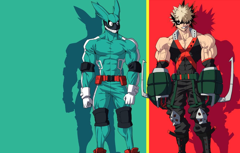 Фото обои green, red, rabbit, anime, hero, friends, manga, powerful, strong, uniform, yuusha, enemy, seifuku, grenade, Boku …