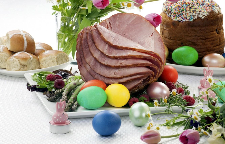 Фото обои яйца, пасха, мясо, крашенки