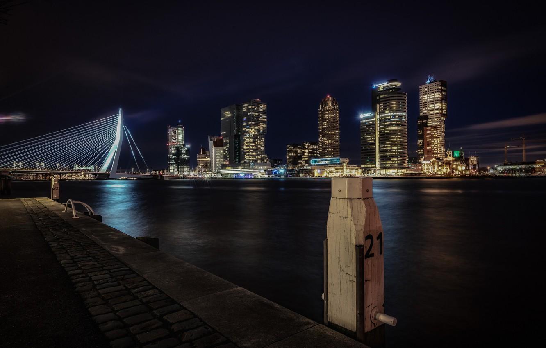 Фото обои ночь, мост, огни, дома, опора, Нидерланды, Роттердам