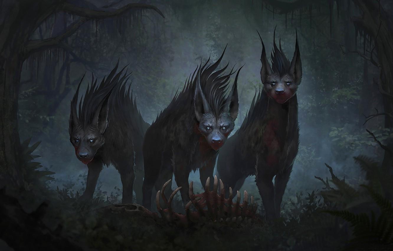 Фото обои лес, животные, взгляд, хищники, арт, гиены