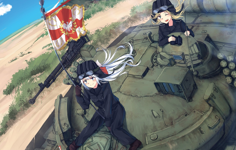 Фото обои gun, weapon, war, anime, flag, tank, japanese, machine gun, bishojo, coat of arms, Girls Frontline