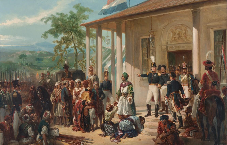 Фото обои Живопись, Nicolaas Pieneman, The Submission of Prince Dipo Negoro General De Ko, -, Ck